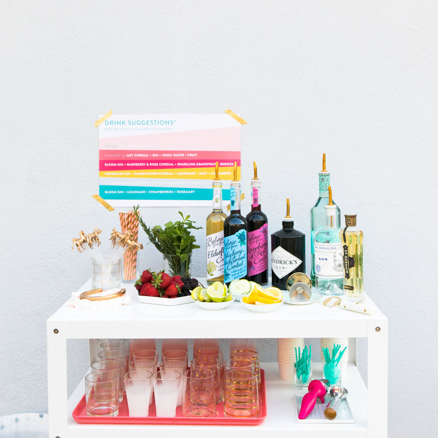 Create a DIY gin and tonic station at your next part. Style a bar cart with your favorite gin, cordials, and garnishes!