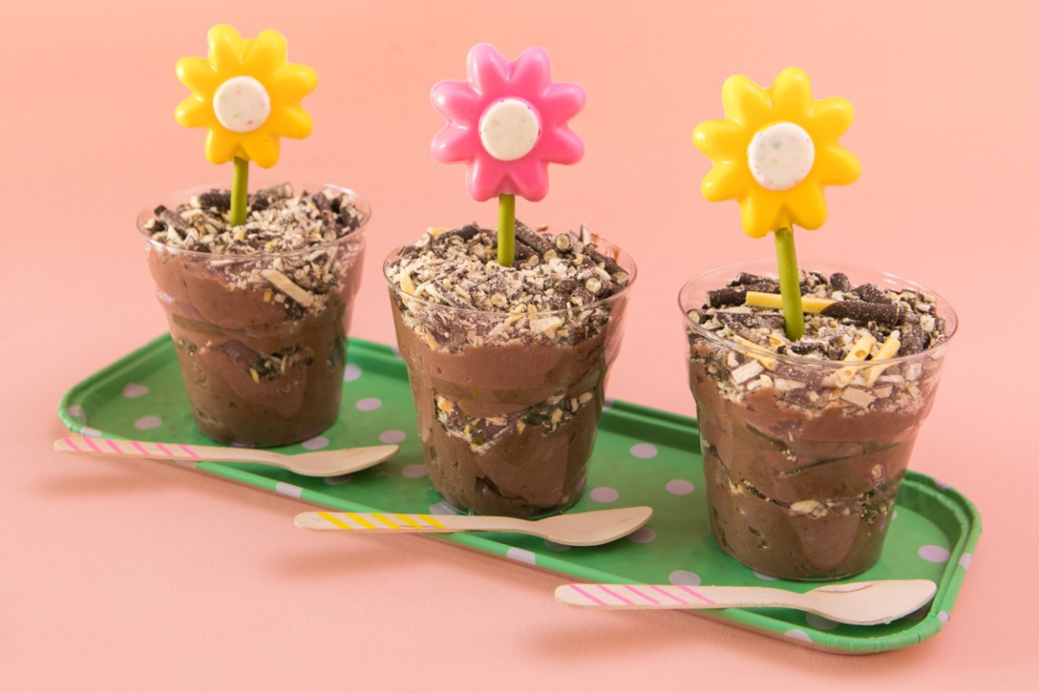 Layers of crunchy Pocky and chocolate mousse make up these kid friendly dessert dirt cups.