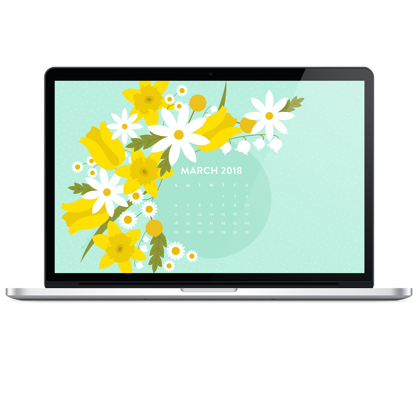 Spring floral wallpaper with April 2018 calendar