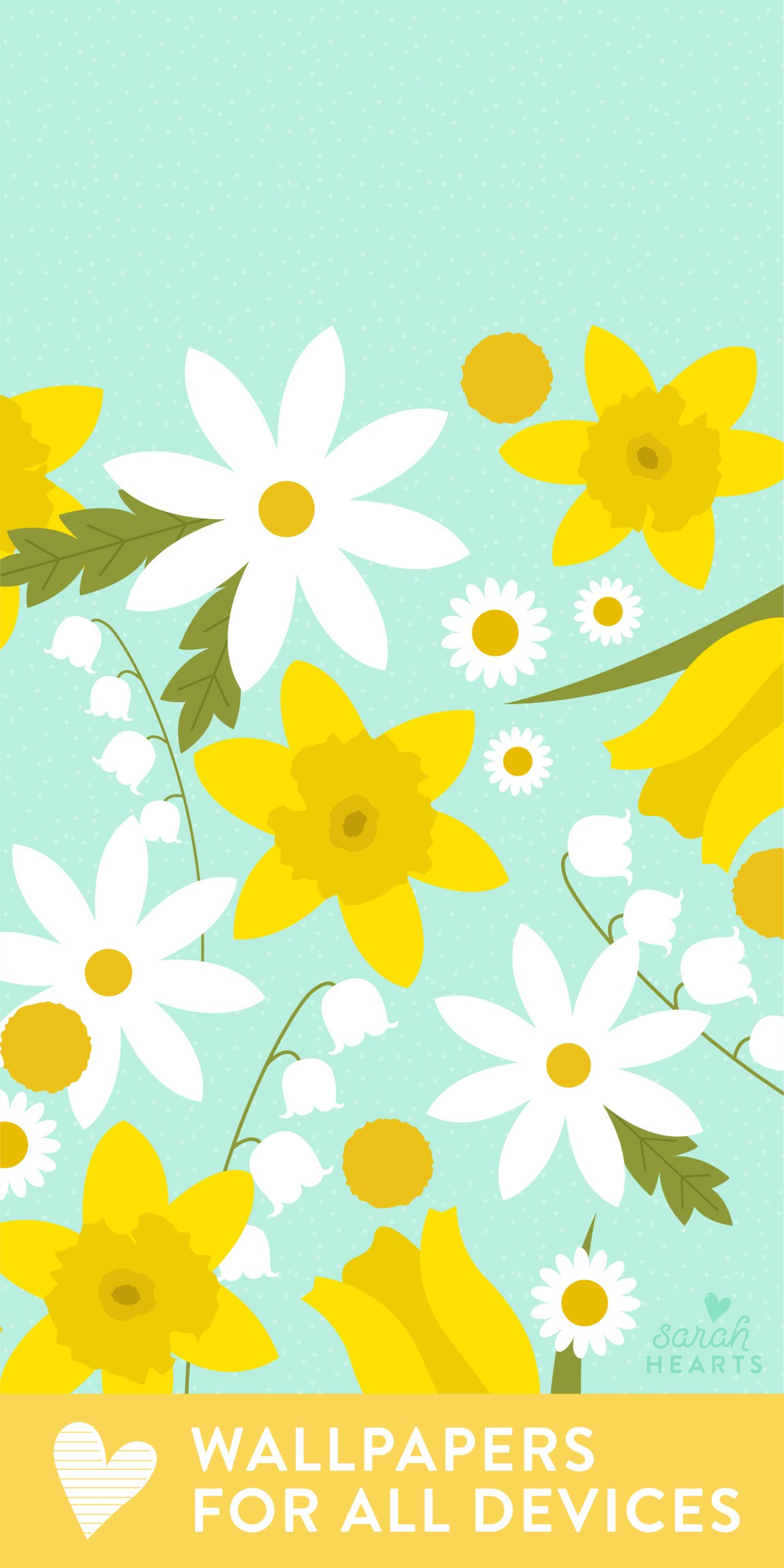 Pretty yellow and white spring floral wallpaper