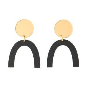 Photo of matte black and mirrored gold acrylic u-shaped earrings