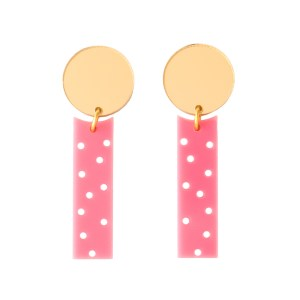 Photo of pink and mirrored gold acrylic polka dot earrings