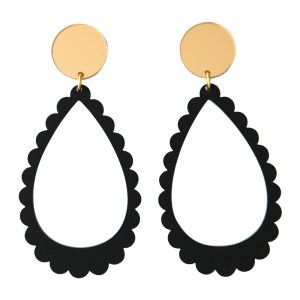 Photo of matte black and mirrored gold acrylic scalloped earrings
