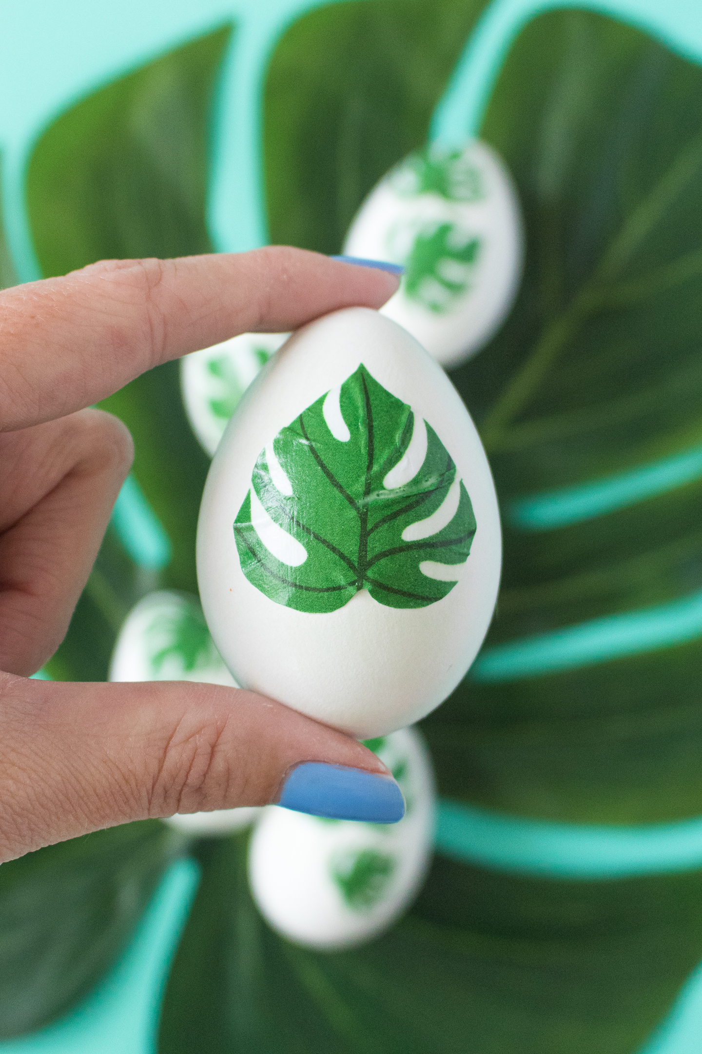 detail of a tropical inspired easter egg