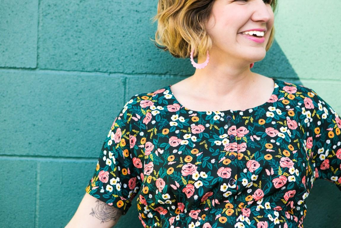 Detail shot of sleeve of floral dress
