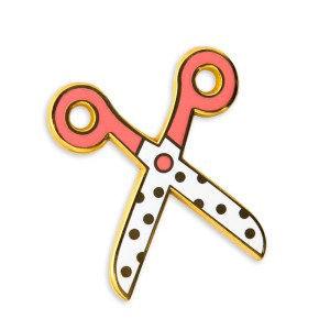 Coral and white polka dot gold hard enamel scissor pin