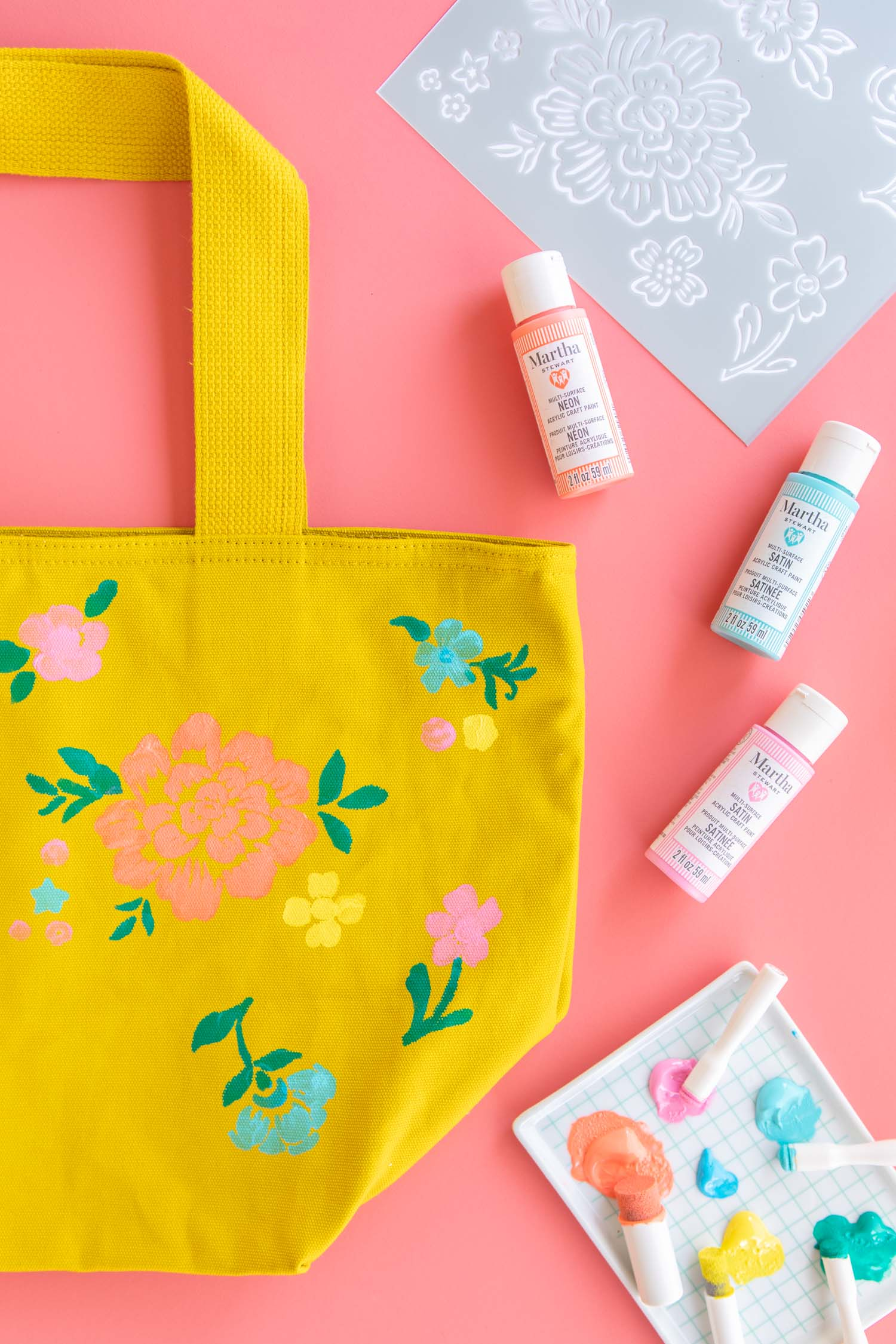 Use paint to decorate a tote bag for an easy Mother's Day gift