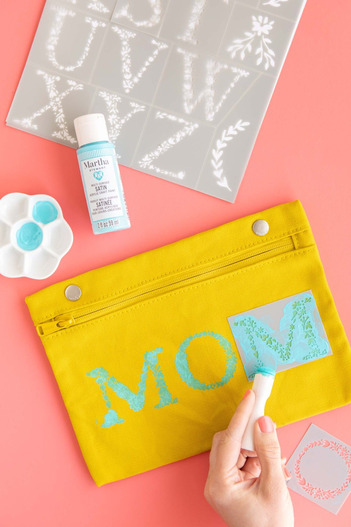 DIY Stenciled mom zippered pouch