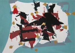 'Blue Border' Gouache on Watercolour Paper, 42 x 30 cm
