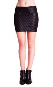 Woman Black Faux Leather Quilted Front Banded Waist Mini Skirt