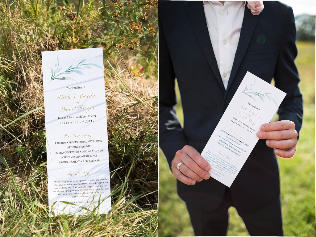 Maine Wedding Program Gisland Farm Falmouth Maine