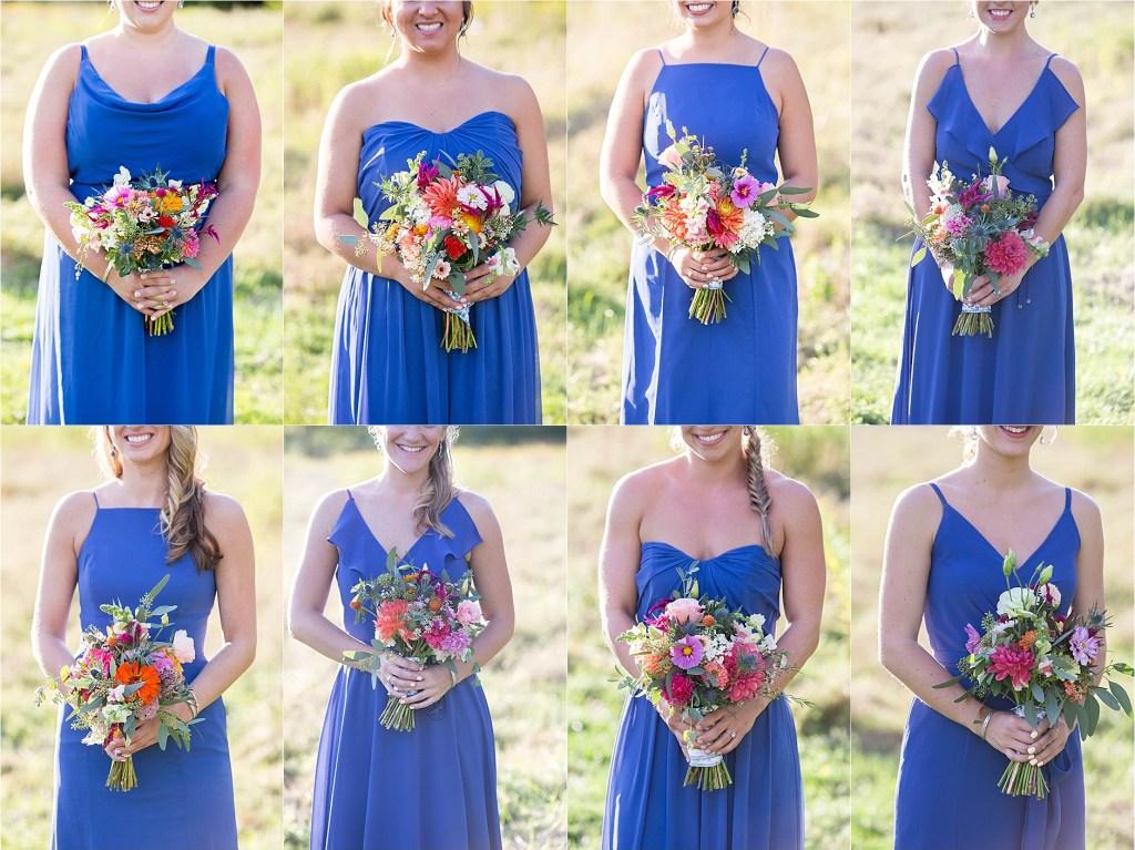 Blue Bridesmaids Dresses Falmouth Maine Wedding