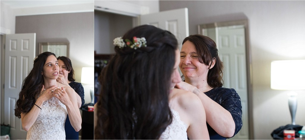Bride getting ready with mother New Hampshire NH Wedding Photographer
