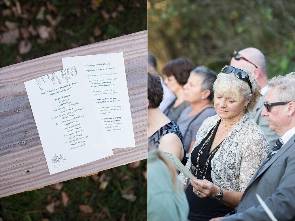 Wedding Program Stonewall Farm