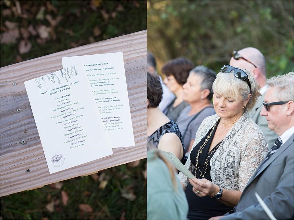 Wedding Program Stonewall Farm