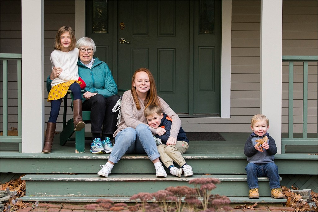 Great Grandmother with Great Grandchildren on front porch Falmouth Maine Family Photographer
