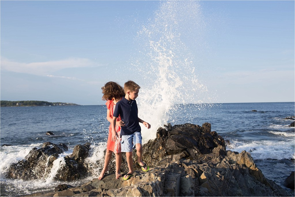 York Maine Family Portrait Rogue Wave brother and sister Summer Sarah Jane photography