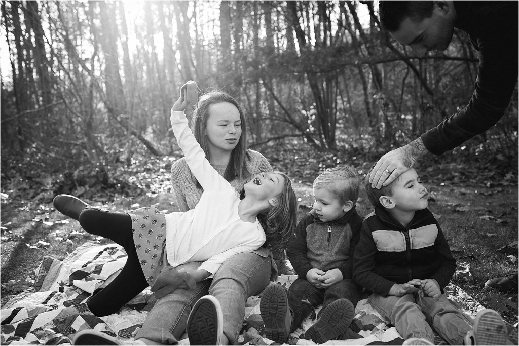 Black and White Family Portrait Falmouth Maine Sarah Jane Photography