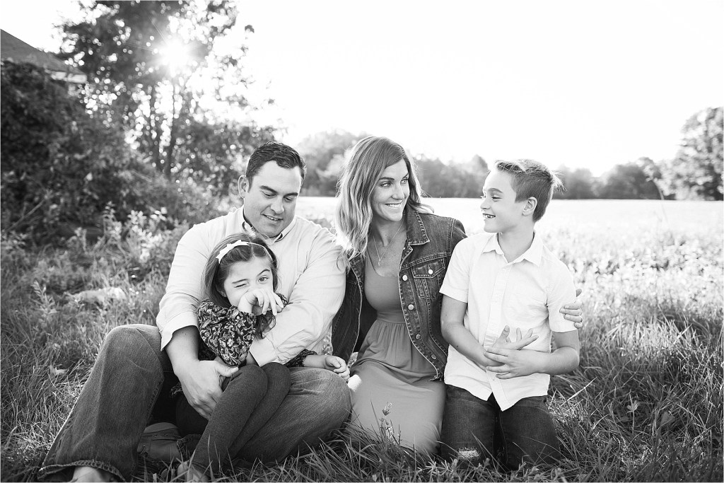 Saco maine Family Portrait Photo in a Field Sarah Jane Photography