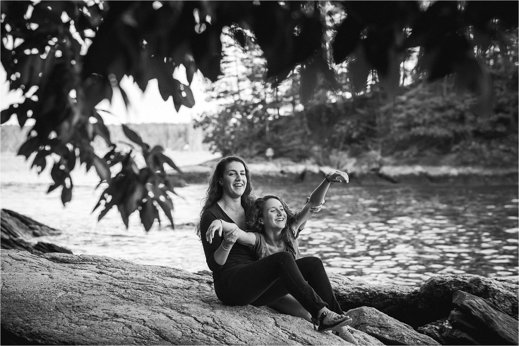 Black and white portrait of two sisters Freeport Maine Sarah Jane Photography
