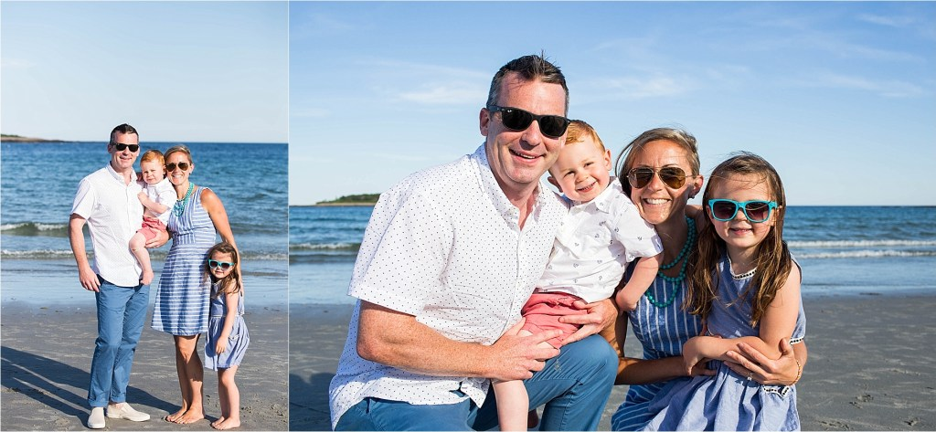 Sunny beach family photos in Kennebunkport Maine