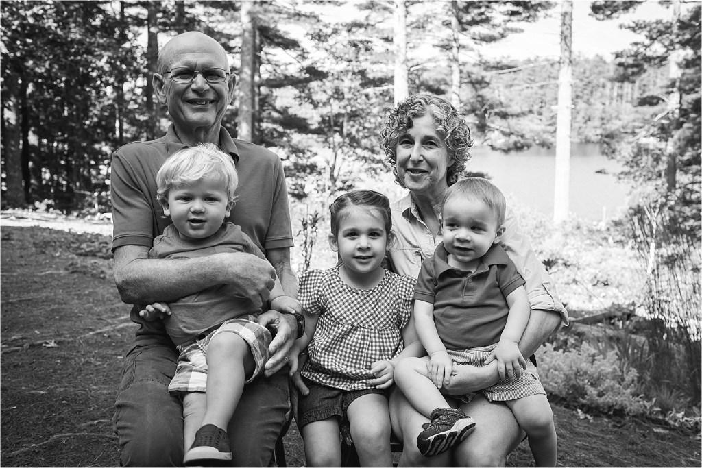 grandparents with grandchildren portrait maine family photographer dmariscotta lake