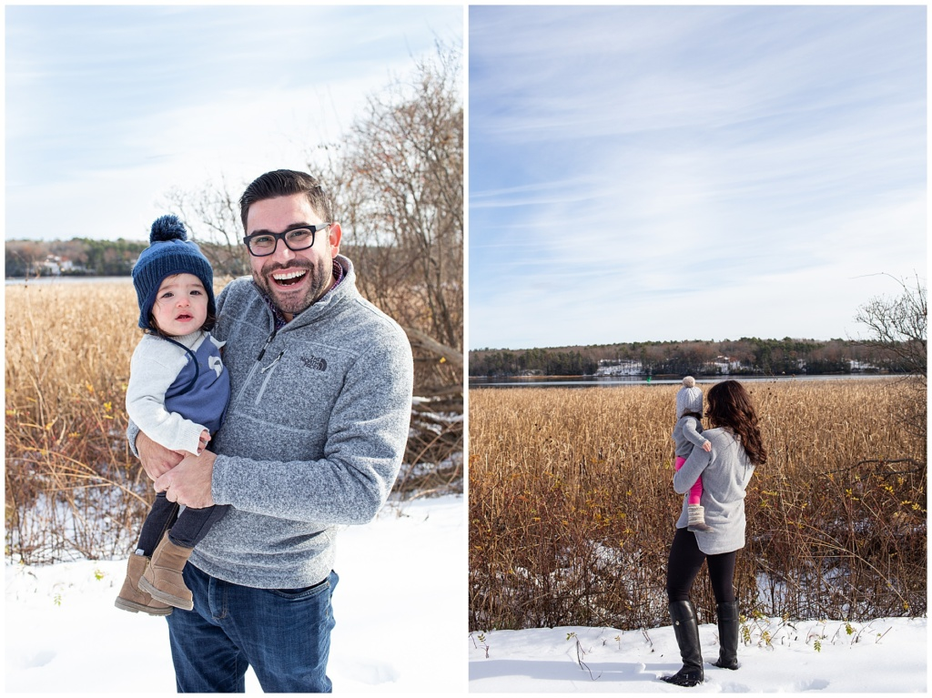 Winter Family Portraits in Maine Kennebec River, Bath Maine