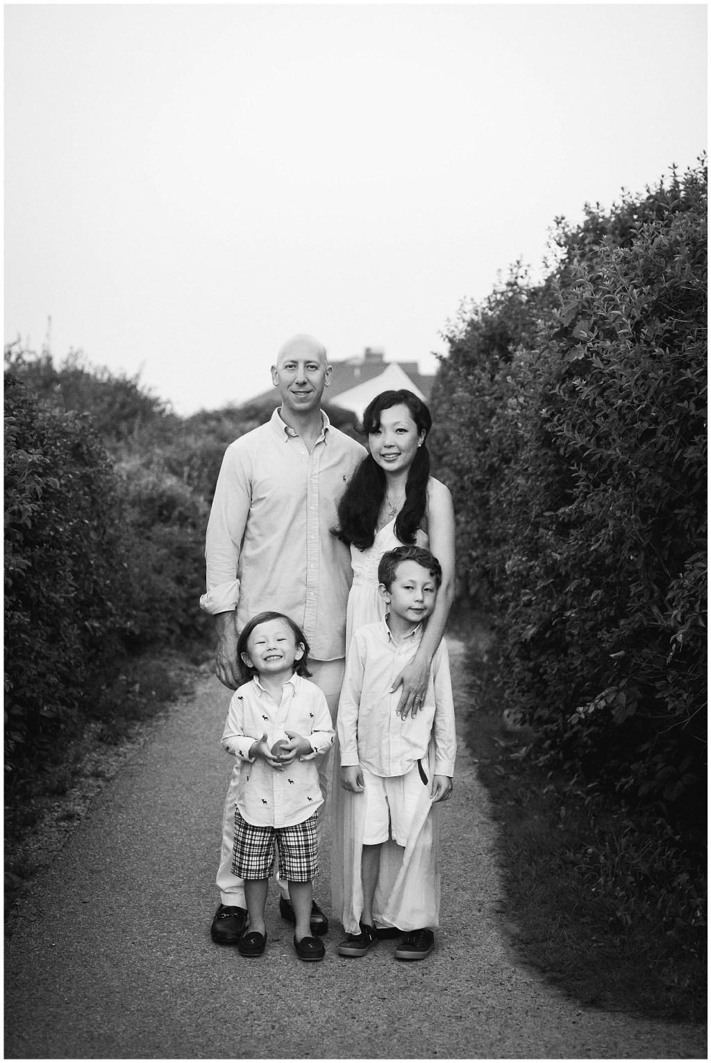 black and white Ogunquit Maine Family Photo