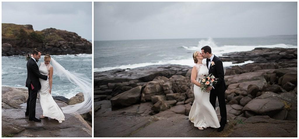 York Maine Wedding couple at Nubble Lighthouse