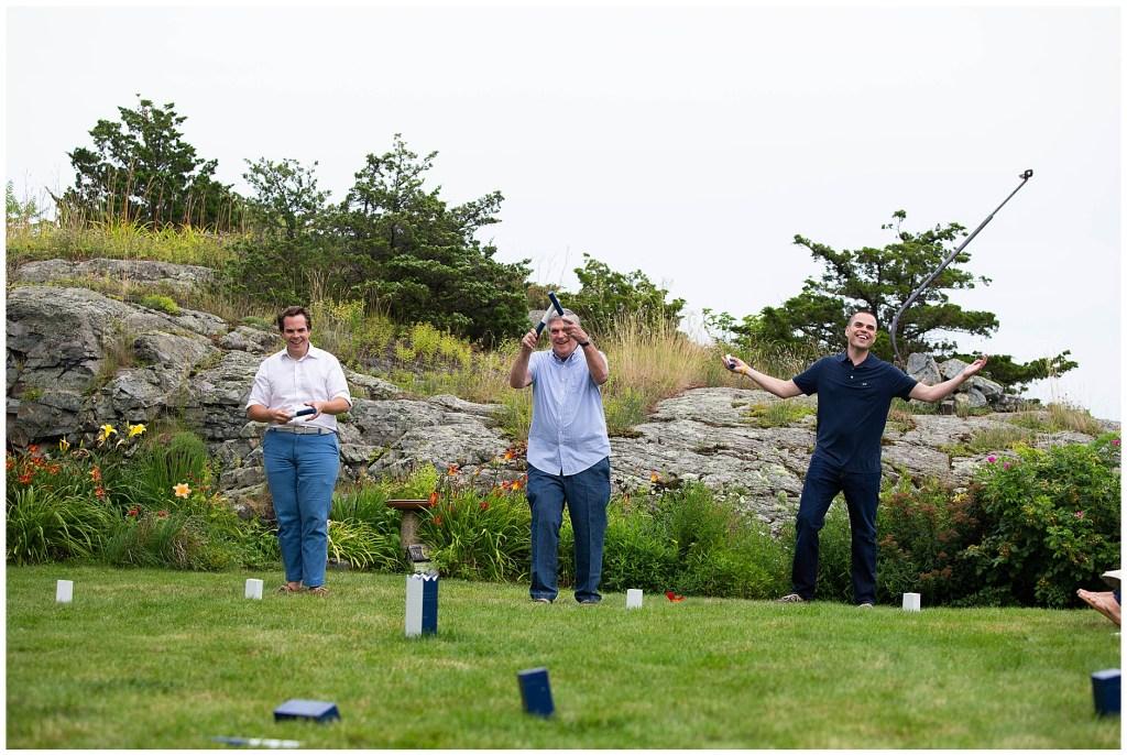 Kubb game in Perkins Cove Ogunquit Maine