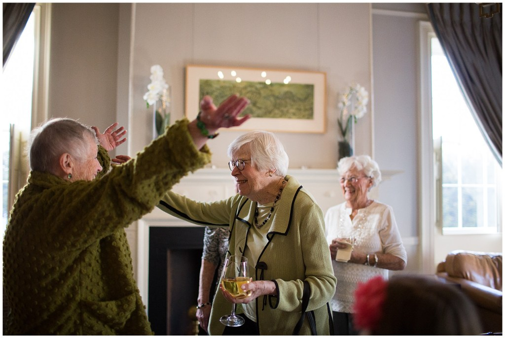 Welcoming friends to her 90th birthday party at the Portland Maine Cumberland Club