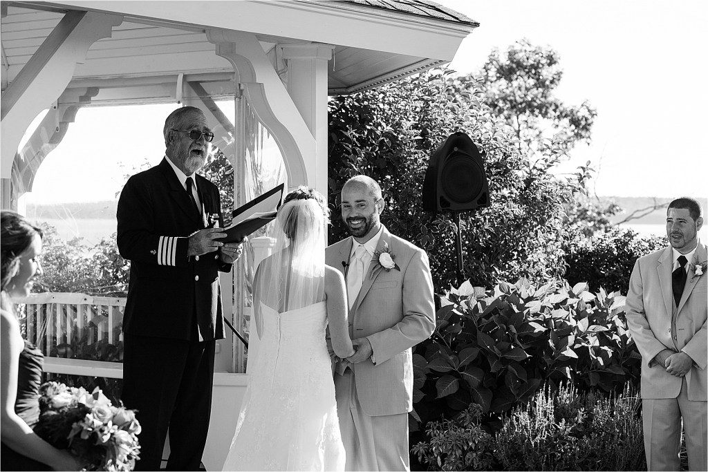 Captain Ken Barnes officiating a French's Point Wedding
