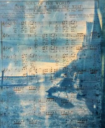 Cyanotype on vintage music manuscript