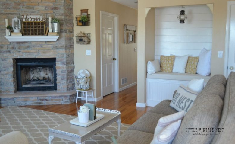 Reading Nook Planked Walls Farmhouse Living Room