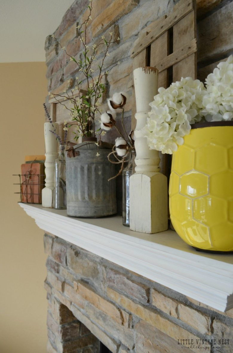 Vintage Spring Mantel with Spindles and Vintage Oil Can