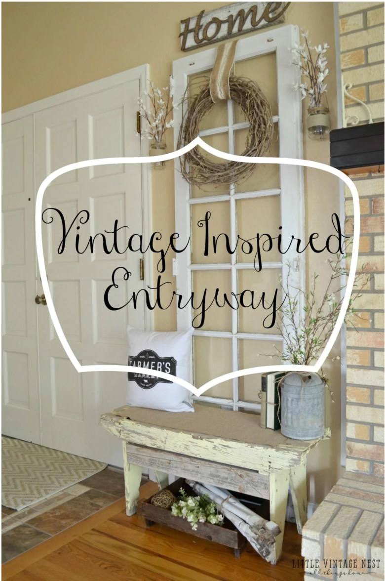 Vintage inspired entryway with old door