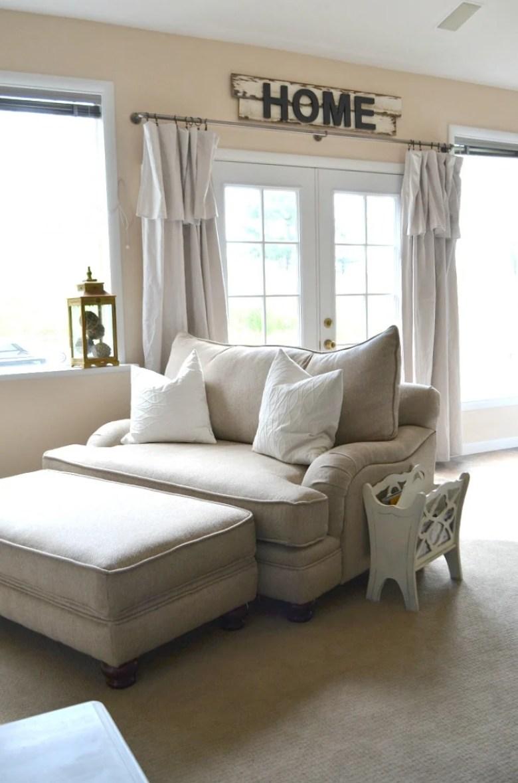 Cozy Basement Tour Farmhouse Style Drop Cloth Curtains