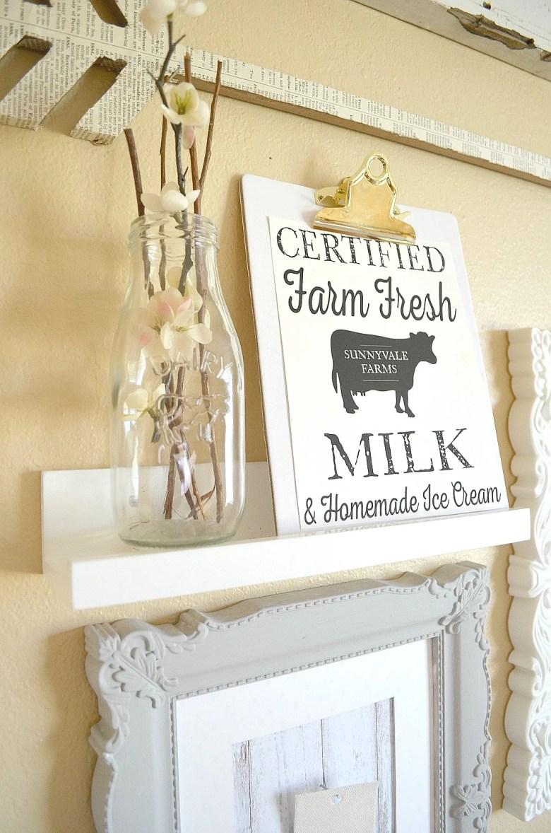 Farmhouse Style Gallery Wall Fresh Milk