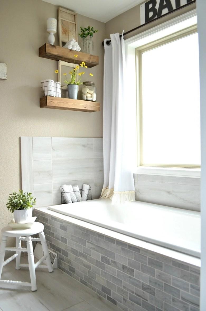Vintage Farmhouse style bathroom--mixing vintage and modern decor