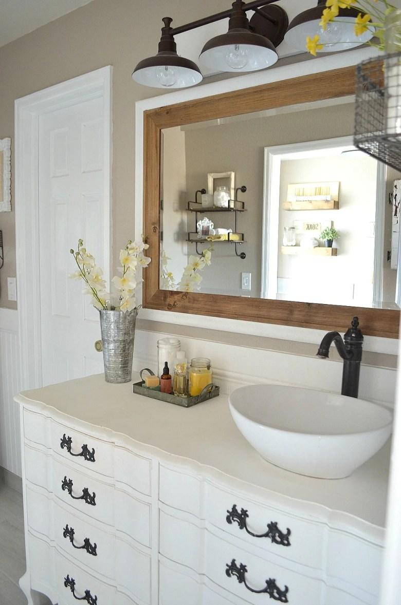 Honest Review of My Chalk Painted Bathroom Vanities. Modern farmhouse bathroom decor.