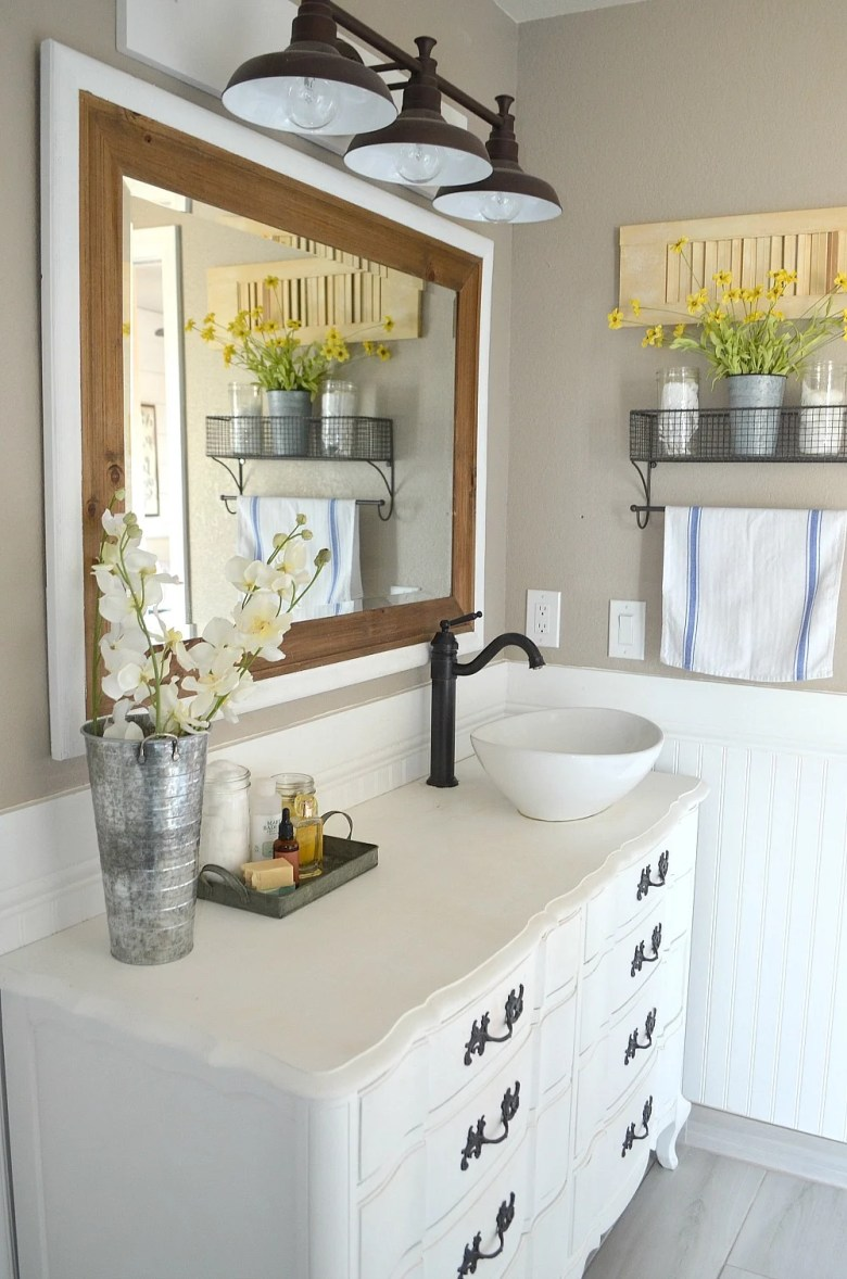 Modern Farmhouse Bathroom Decor. An honest review of chalk painted bathroom vanities.