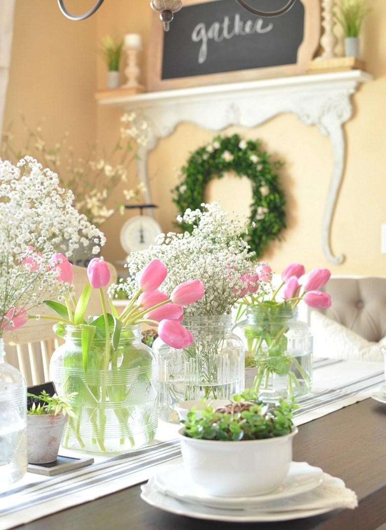 Simple Farmhouse Spring Tablescape