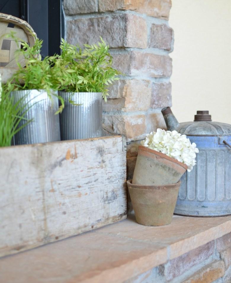 Vintage Farmhouse Spring Mantel. Spring decor ideas.