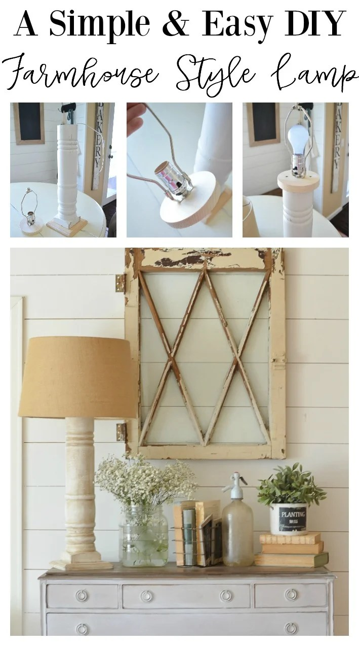 A simple and easy farmhouse style lamp made using a vintage porch post.