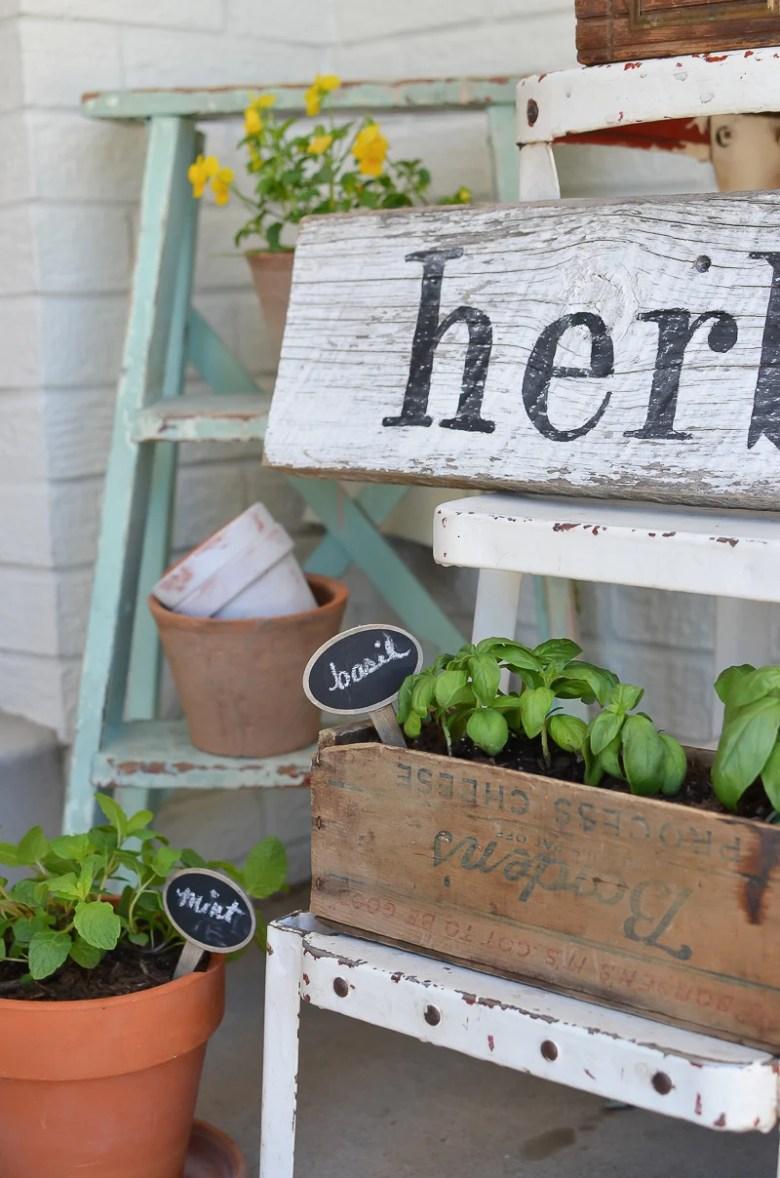 DIY Herb Garden with Vintage Boxes