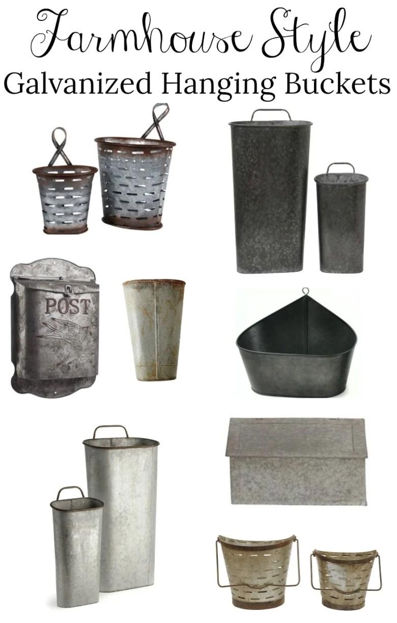 Farmhouse Style Galvanized Hanging Buckets