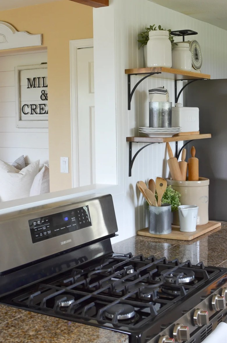 Farmhouse Kitchen Update with Open Shelves