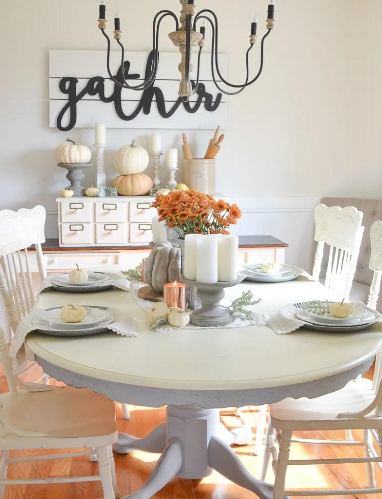 Easy Farmhouse Style Fall Table and Dining Room Decor