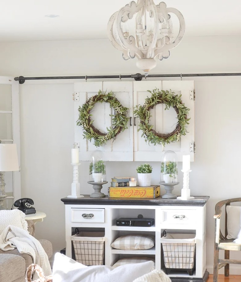 DIY Television Cover with Old Doors. Great farmhouse style living room decor idea!