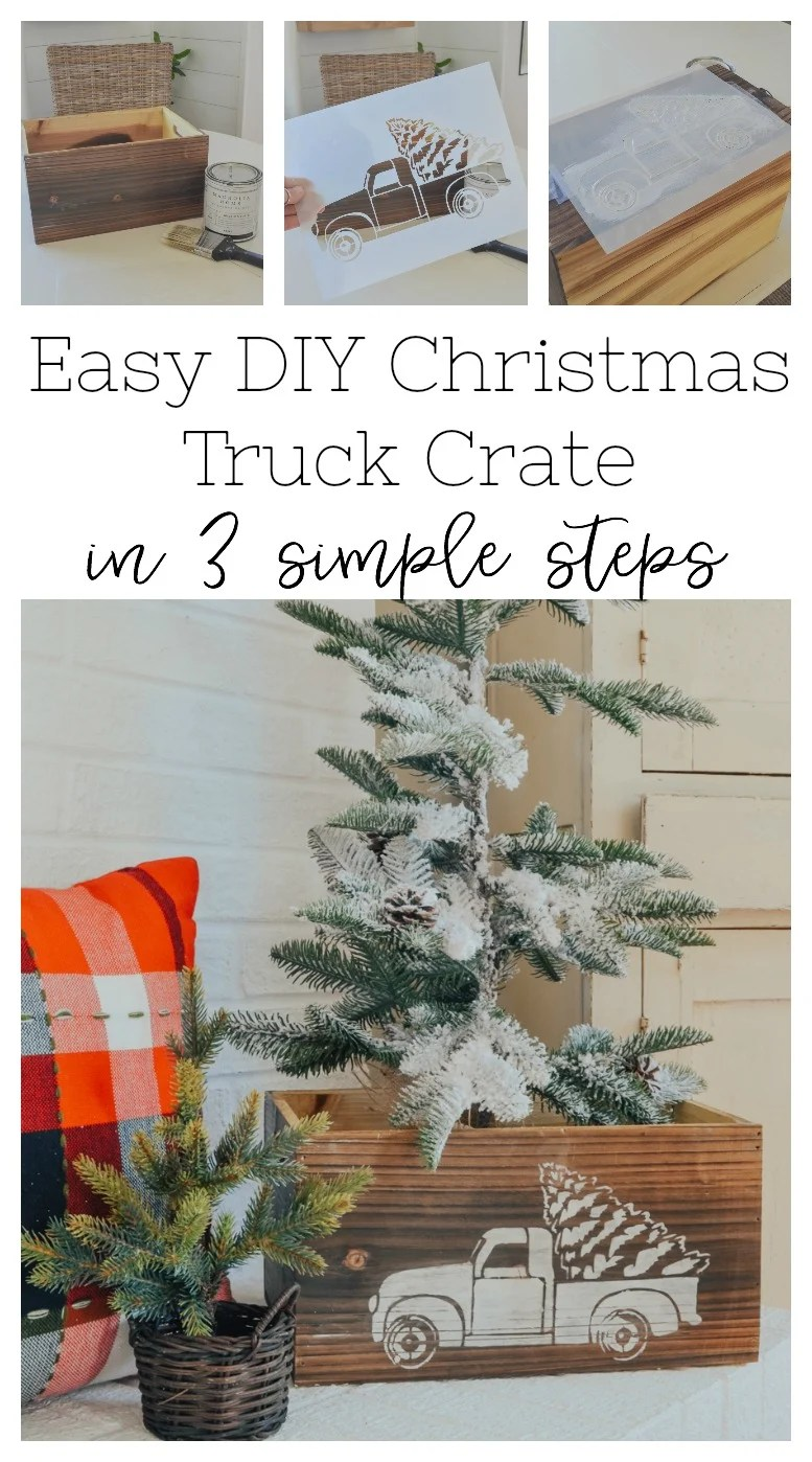 Easy DIY Christmas truck crate. Simple and easy Christmas DIY project.